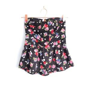 AE Floral Peplum Tube Top Small
